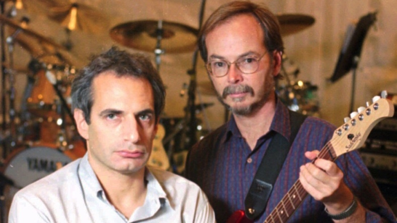 Donald Fagen, left, and Walter Becker in New York City before a rehearsal for Steely Dan's tour that kicked off in August 1993. (Richard Drew / Associated Press)