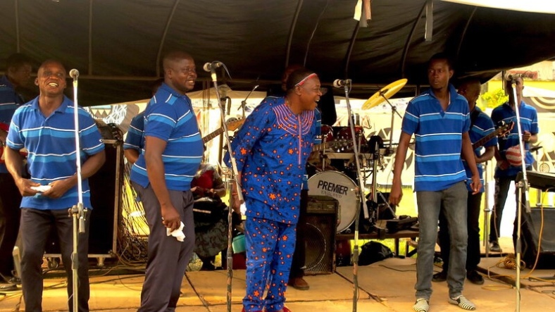 Ambassador Osayomore Joseph, center, and his band performing at a wedding ceremony in Benin City, Nigeria on December 31, 2016. Morgan Greenstreet